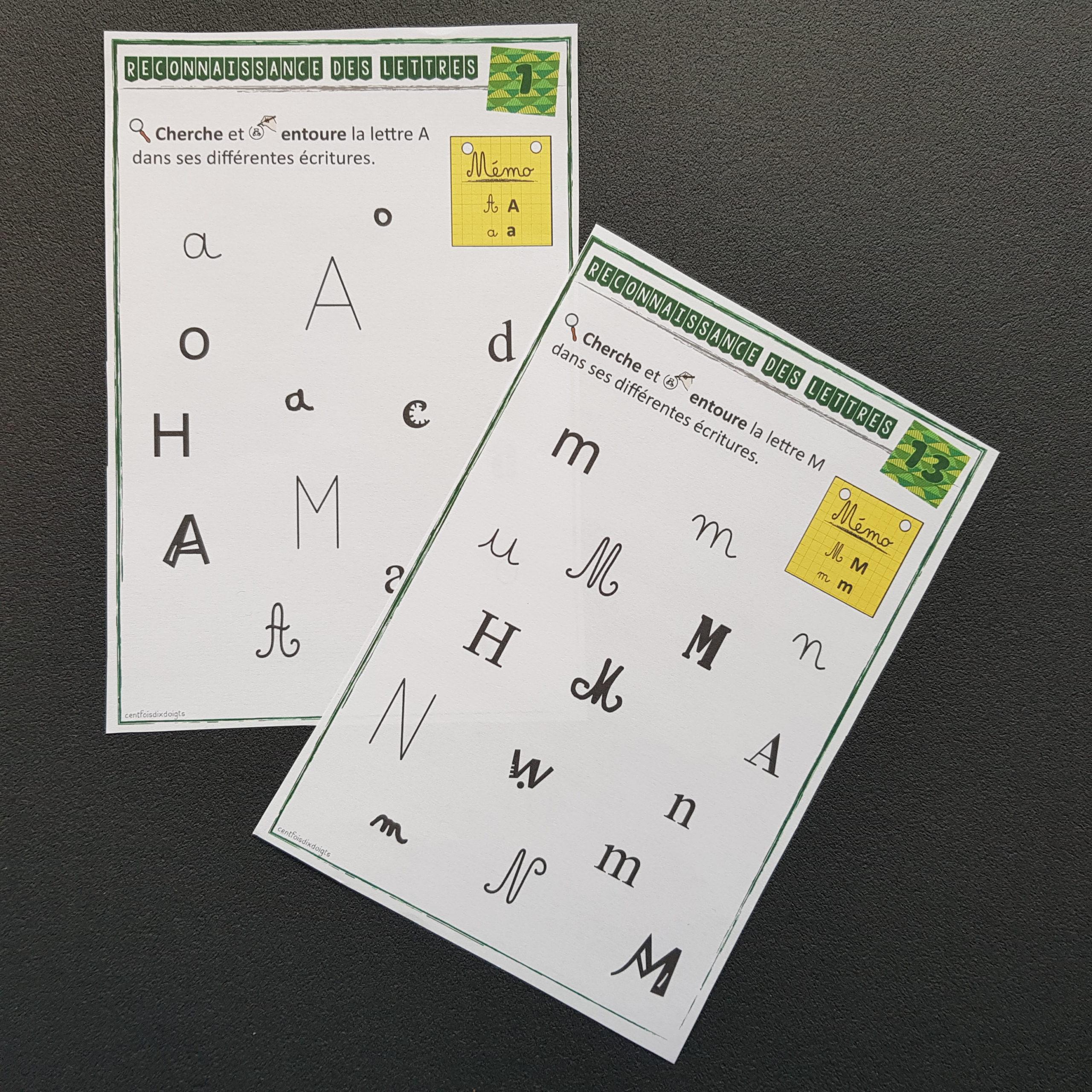 Les lettres dans différentes écritures